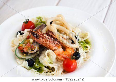 Seafood Italian Cuisine Pasta Marine Mediterranean Japanese Chinese Asian Cuisine Concept