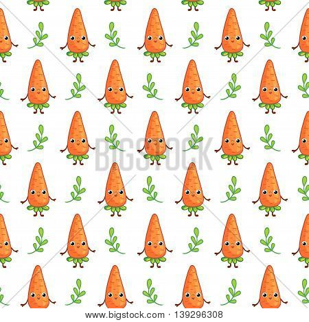Vector seamless pattern with cute Carrots on white background. Cartoon vegetable character Carrot.