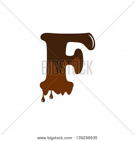 Melted chocolate alphabet over white background vector icon