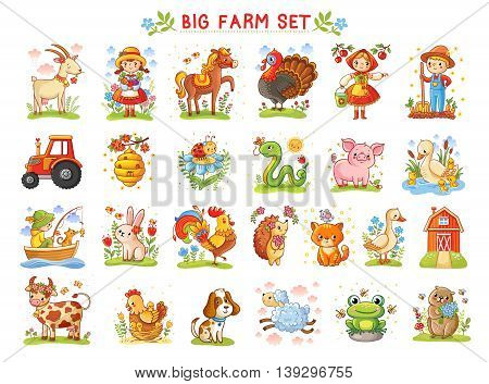 Set of vector illustrations of farm animals. A collection of farm animals and wild animals. A Big farm.