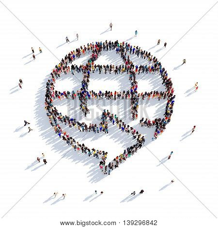 Large and creative group of people gathered together in the shape of a globe, planet. 3D illustration, isolated against a white background. 3D-rendering.
