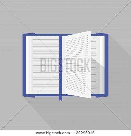 Blue covered opened book with pages fluttering. School read open book literature page isolated document. Vector template with open book design. Education open book library text.