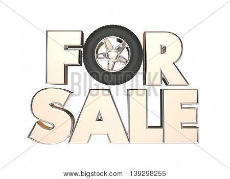 For Sale Car Truck Vehicle Auto Wheels 3d Illustration