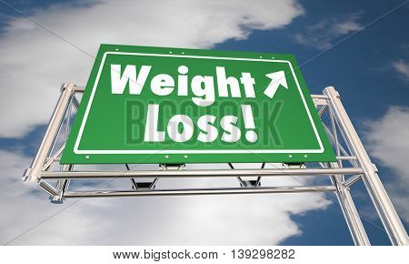 Weight Loss Diet Lose Fat Road Freeway Sign 3d Illustration