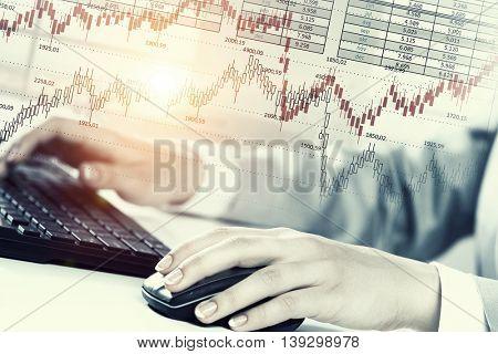 Woman use black keyboard . Mixed media