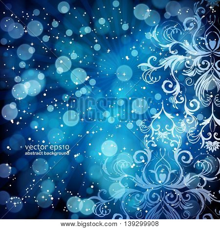 Abstract floral pattern on a blue background, made of transparent rays, stars, bokeh. Magical fantasy flowers design card.  Vector illustration.