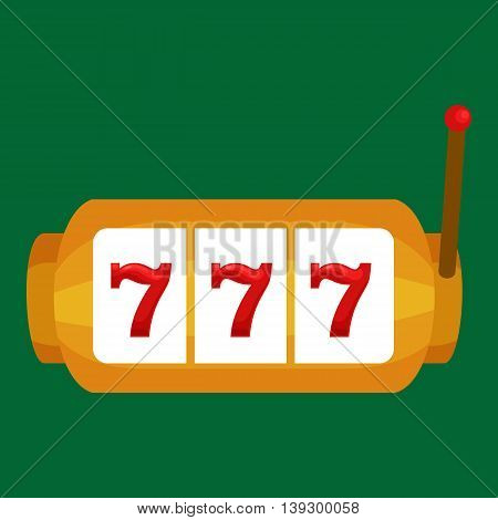 Slot machine with three seven's isolated on green background.Win gambling casino icon, risk and play in slot machine, isolated vector illustration