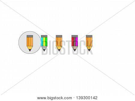 small icons pencils, beautiful vivid illustration to set the mood