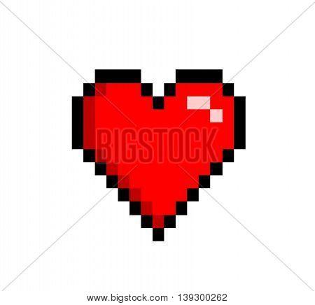 Retro Heart Love Icon 8 bit. A hand drawn vector illustration of a heart icon in retro 8 bit style.