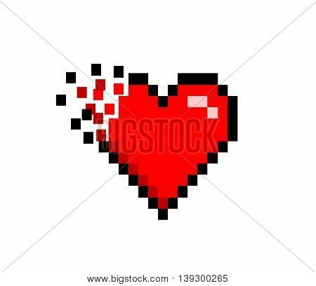 Broken Shattered Heart Icon Retro 8 bit. A hand drawn vector illustration of a shattered and broken heart in retro 8 bit style.
