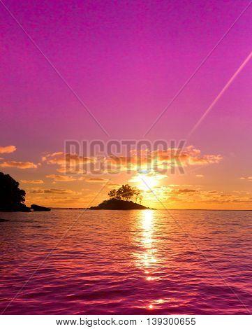 Coast Sea Nightfall