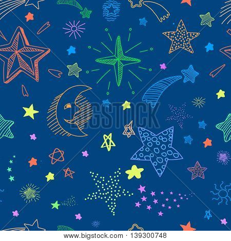 Seamless pattern with blue night sky and colorful hand drawn doodle stars and comets.  background.