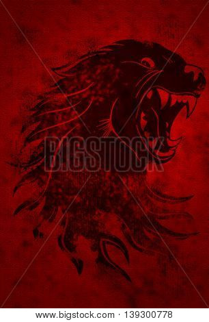 Head of Monster Wolf on the grunge red background