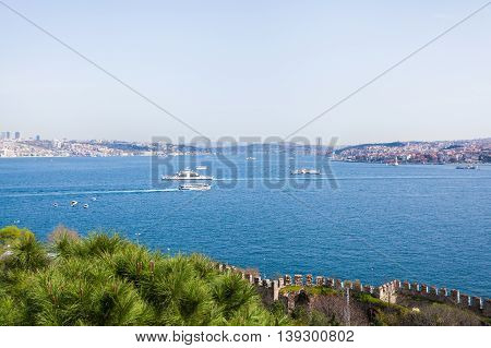 Istanbul and Bosphorus view from the Topkapi Palace. View of downtown. Travel Turkey