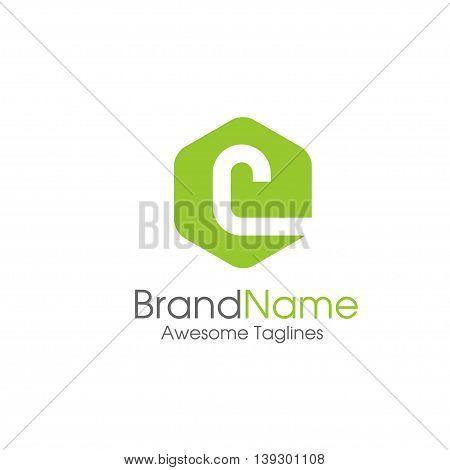 letter C logo design template. letter C creative hexagon sign