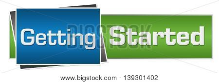 Getting started text written over blue green background.