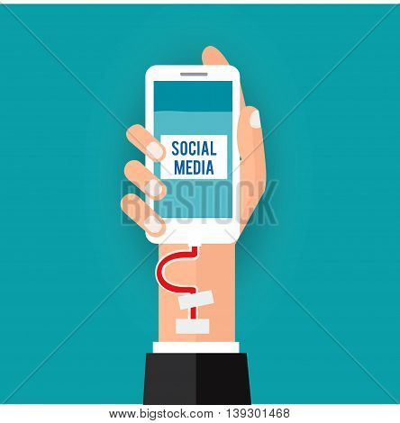 business hand holding  telephone inject blood vessel social addiction.