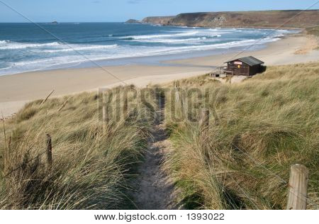 Path Down To The Beach At Sennen Cove, Cornwall, Uk.