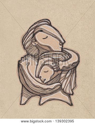 Hand drawn illustration or drawing of a man and a woman hugging each other