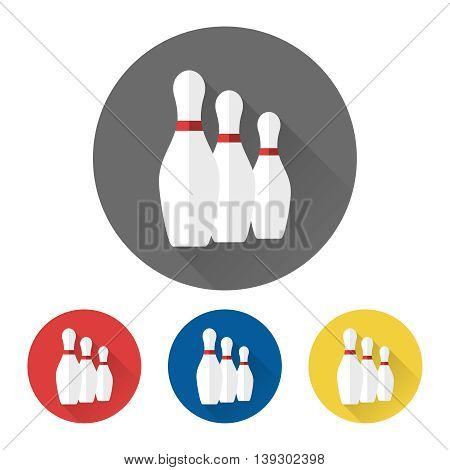 Flat bowling icons with skittles vector illustration