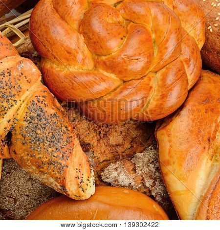 background baked goods, bread and pastry products