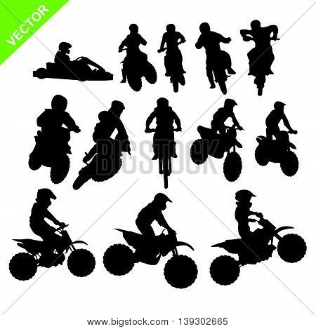 Set of Motorcross silhouettes vector on white color background