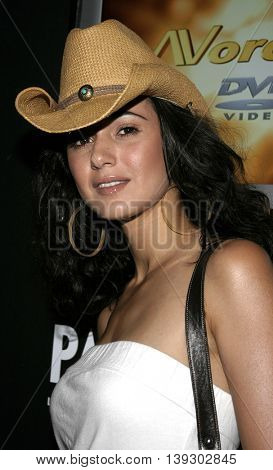 Emmanuelle Chriqui at Christian Audigier Fashion Show featuring new Ed Hardy label held in Hollywood, USA on May 21, 2005.