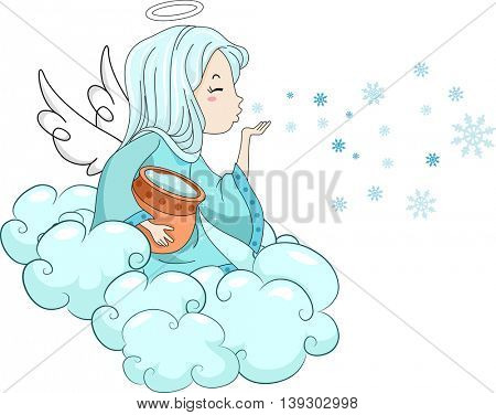 Illustration of a Snow Angel Blowing Icy Kisses