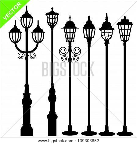Set of street lamps silhouettes vector on white color background