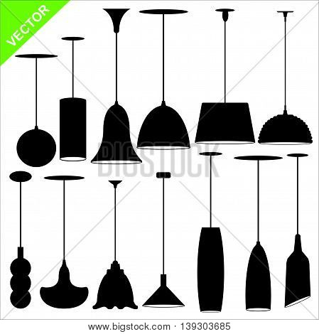 Set of lamp silhouettes vector on white color background
