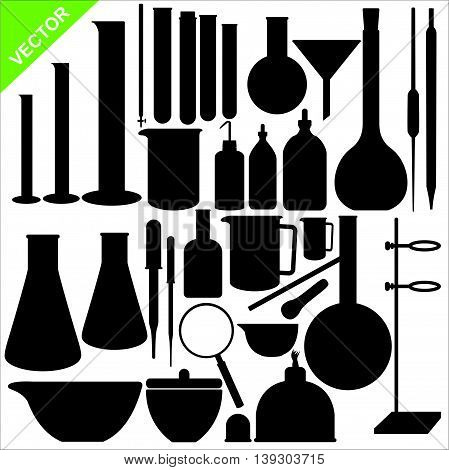 Set of science laboratory silhouettes vector on white color background