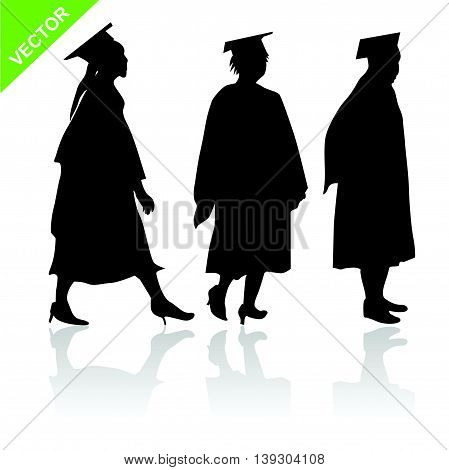 The womens graduate silhouettes vector on white color background