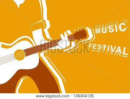Music Festival Poster With Man Musician And Guitar.