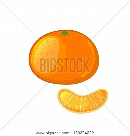 Mandarin and tangerine slice. Isolated object on a white background. Cartoon icon. Vector illustration.