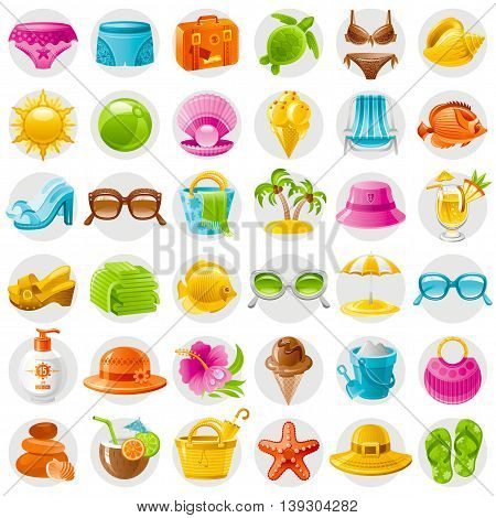 Beach sea summer concept design with travel symbols icon set on white background. Suitcase, starfish, beach parasol, sunglasses, sea turtle, cocktail, hawaii palm island, straw hat, pearl, bikini, sun