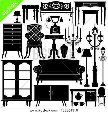 Set of antique furniture silhouettes vector on white color background