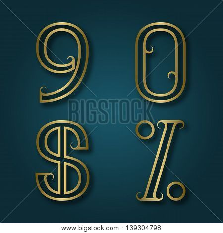 Nine zero shiny golden numbers dollar and percent sign with shadow. Outline font with flourishes in art deco style.