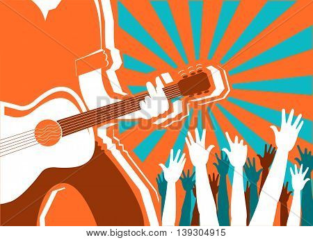 Rock Musician Concert Background.vector Poster