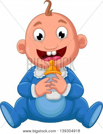 funny baby cartoon drink a milk for you design