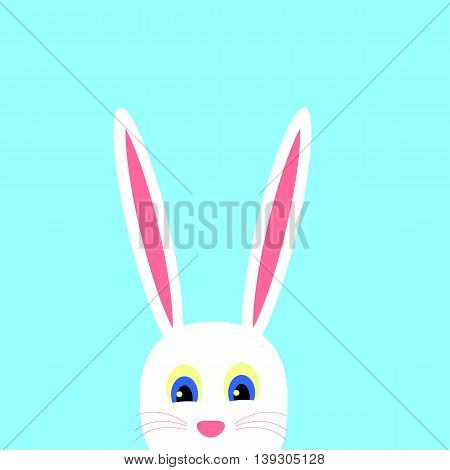 Cute Easter Bunny on a blue background