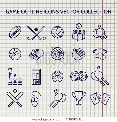 Ball pen game outline icons set vector on notebook page vector