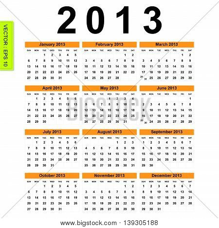 2013 Calendar vector on white color background