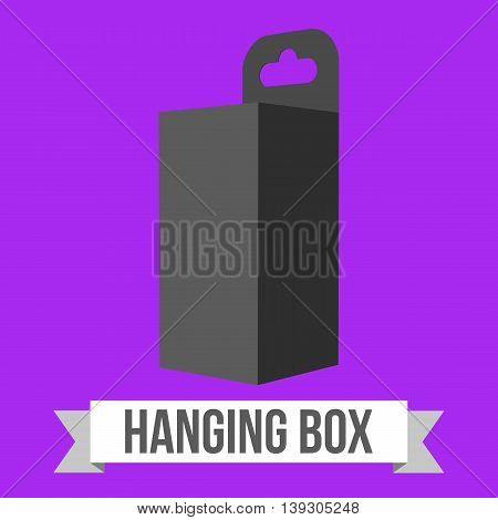 Black paper hanging box set. Packaging container with hanging hole. Mock up template. Vector illustration on purple background.