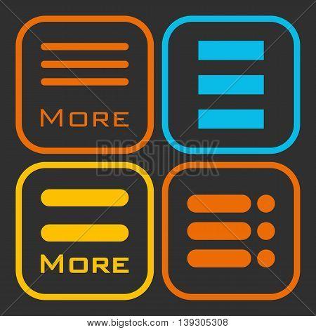 Hamburger menu icons set. Vector orange yellow and blue symbols collection on black background.