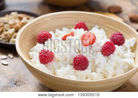Cottage cheese with organic raspberries and strawberries in bowl, close up. Nutty granola on background. Selective focus