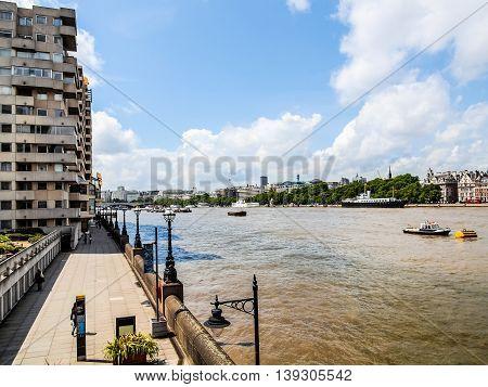 River Thames South Bank, London Hdr