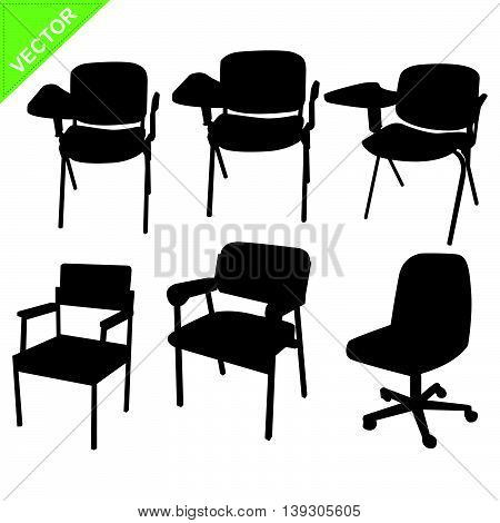 Chair silhouettes vector on white color background