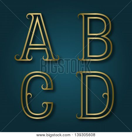 A B C D shiny golden letters with shadow. Outline font with flourishes. Type in art deco style.