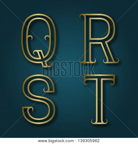 Q R S T shiny golden letters with shadow. Outline font with flourishes. Type in art deco style.