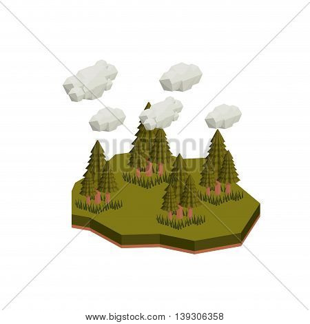 trees isometric  isolated icon design, vector illustration  graphic